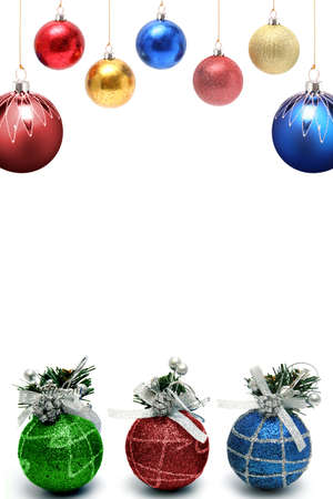 Christmas framework with a set of New Years spheres of different color and the size vertically photo