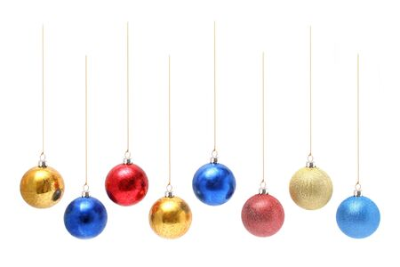 Christmas celebratory ornaments in the form of multi-coloured glass spheres
