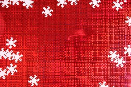 Christmas background of red color with white snowflakes on each side