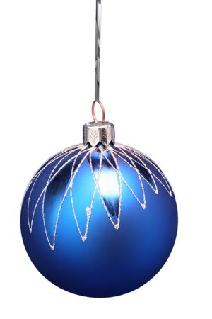 New Year's sphere of dark blue color with a pattern on a white background