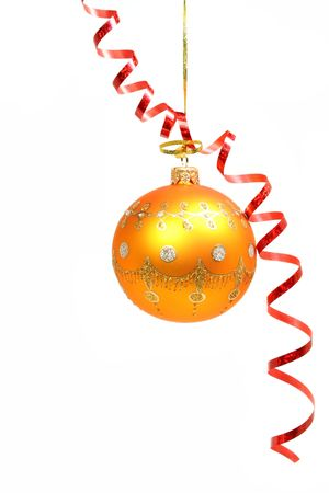Celebratory sphere of yellow color and red streamer