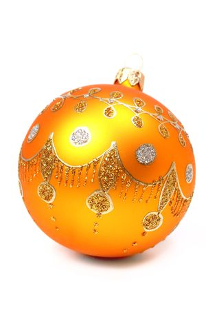 New Year's sphere of orange color on a white background Stock Photo - 860592