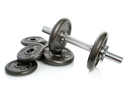 Iron dumbbells set solated on white