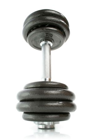job loss: Dumbbell isolated on white 2 Stock Photo