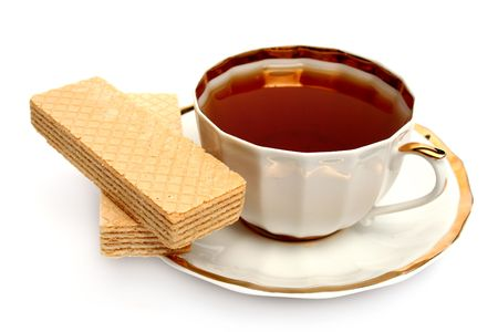 Two wafers and cup of à black tea Stock Photo - 1827539