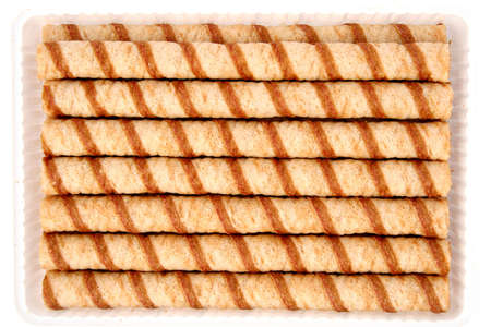 tubules: Striped wafer tubules with a chocolate cream, (look similar images in my portfolio) Stock Photo