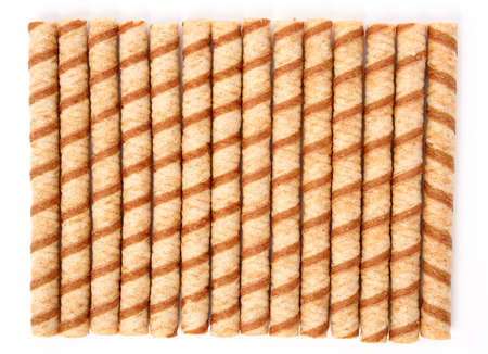Striped wafer tubules with a chocolate cream 2, (look similar images in my portfolio) photo