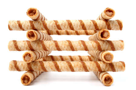 Stop of striped wafer tubules with the chocolate cream, isolated 6, (look similar images in my portfolio) photo