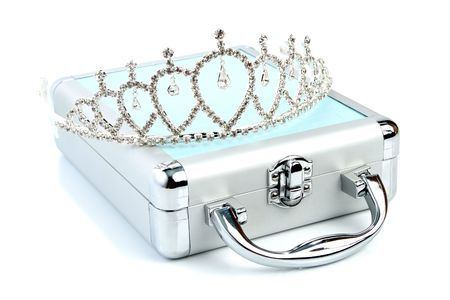 Briefcase with diadem isolated 1 photo