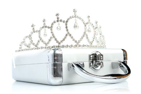 Briefcase with diadem isolated 3