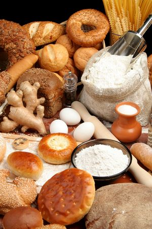 pepperbox: Assorted breads and ingredients, background
