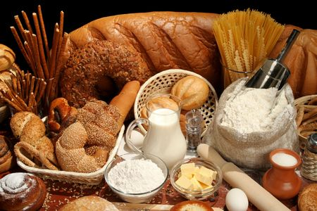 pepperbox: Bread, flour, milk, butter, eggs, background