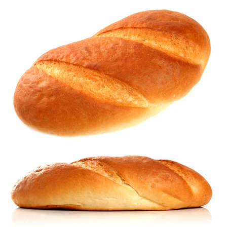 Loaf of fresh bread, isolated on white