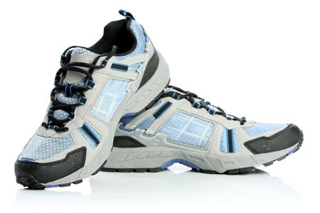 A pair of athletic shoes, isolated on white  Stock Photo