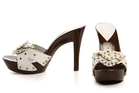 New woman shoes, isolated on white photo
