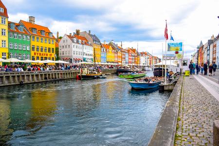 Nyhavn - Copenhagen, Denmark  - 17th century waterfront, canal and entertainment district in Copenhagen, Denmark. Editorial