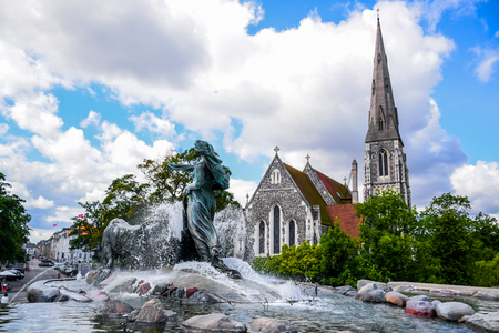 gothic revival: The Gefion Fountain and St. Albans Church, Copenhagen Denmark