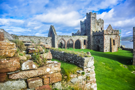 The cathedral inside Peel castle in Peel on the Isle of Man constructed by Vikings.