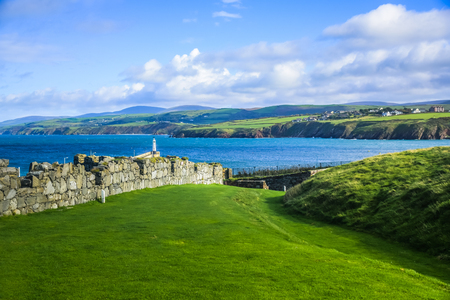 Isle of Man landscape view with wall of Peel Castle.