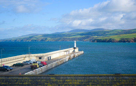 Landscape at the coast of Isle of Man with the pier.