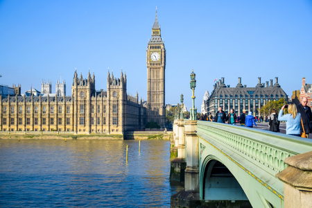 The Palace of Westminster with Big Ben clock tower and Westminster Bridge, London, England