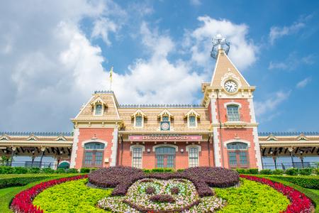 HONG KONG DISNEYLAND - MAY 2015: Disneyland City Hall and Railway Station, Hong Kong Disneyland