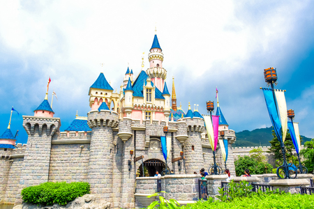 HONG KONG DISNEYLAND - MAY 2015: Sleeping Beautys castle in Hong Kong Disneyland Editorial