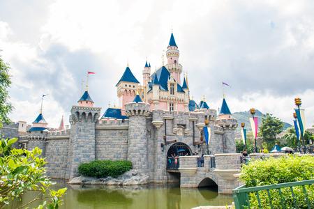 HONG KONG DISNEYLAND - MAY 2015: Sleeping Beautys castle in Hong Kong Disneyland Editorial