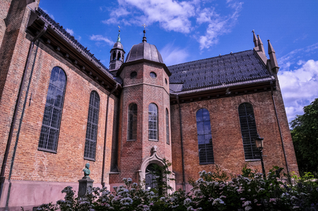 OSLO, NORWAY - JULY 2015: Oslo Cathedral at Karl Johans Gate, Oslo, Norway