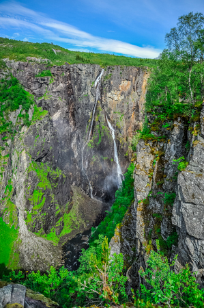 Beautiful landscape and scenery of waterfall cliff, Norway Stock Photo