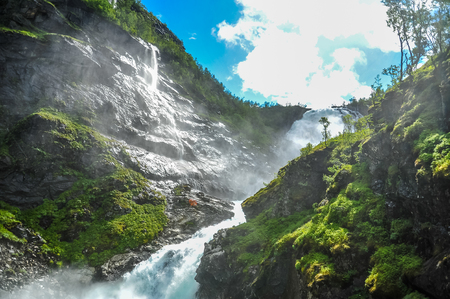 north cascade national park: Beautiful view of Kjosfossen waterfall through the hill in Aurland, Norway