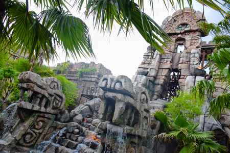 CHIBA, JAPAN - MAY, 2016: Indiana Jones Adventure: Temple of the Crystal Skull attraction in Lost River Delta area of Tokyo Disneysea located in Urayasu, Chiba, Japan Editorial