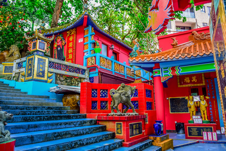Kwun Yam Shrine temple, a Taoist shrine at the southeastern end of Repulse Bay, Hong Kong Island Editorial