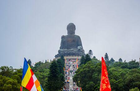 HONG KONG: Enormous Tian Tan Buddha statue on top of hill at Ngong Ping, Lantau Island, in Hong Kong Editorial
