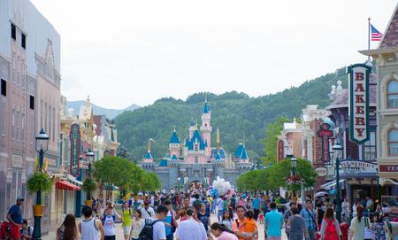 HONG KONG DISNEYLAND: Tourists are spending their time at Main Street, U.S.A. in Hong Kong Disneyland Editorial