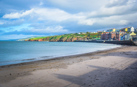 Beautiful beach and coastline of the seaside town Peel, Isle of Man