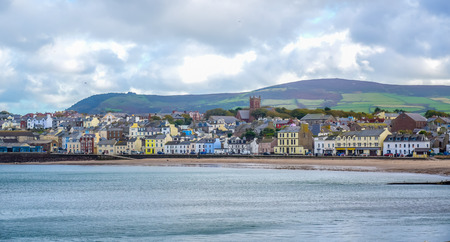 Beautiful coastline with the seaside town of Peel, Isle of Man
