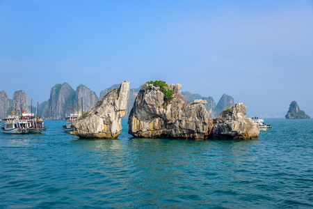 provinces: Beautiful view of Ha Long Bay, a very popular travel destination in Quang Ninh Province, northeast Vietnam