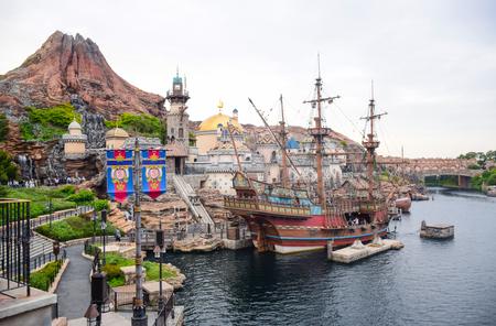 CHIBA, JAPAN: Mediterranean Harbor attraction with volcano in background in Tokyo Disneysea located in Urayasu, Chiba, Japan Editorial