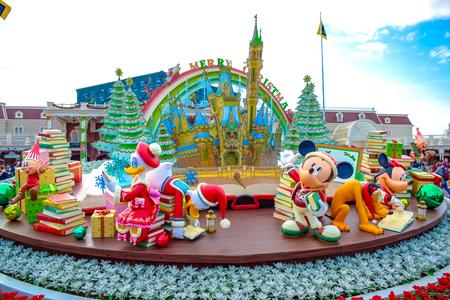 CHIBA, JAPAN: Christmas decoration at the entrance of Tokyo Disneyland