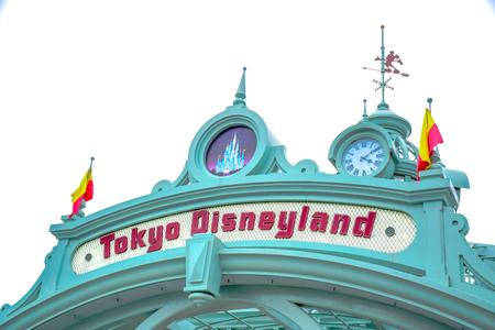 CHIBA, JAPAN: Tokyo Disneyland arch over the passage way leads to Tokyo Disneyland Resort in Urayasu, Chiba, Japan