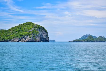 Beautiful tropical seascape of Thailand sea and island in a clear blue sky, Samui Stock Photo