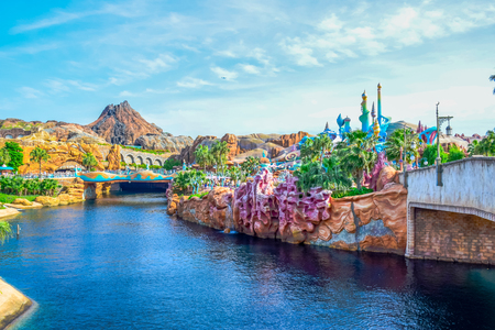 View of Mysterious Island from Mermaid Lagoon in Tokyo Disneysea located in Urayasu, Chiba, Japan
