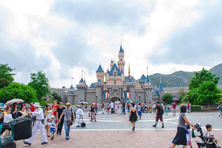 Tourists enjoying their time at Sleeping Beauty Castle, Hong Kong Disneyland