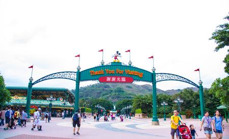 HONG KONG DISNEYLAND : Hong Kong Disneyland exit signage Editorial