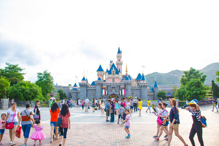 HONG KONG DISNEYLAND: Tourists are spending their time at Main Street, U.S.A. in Hong Kong Disneyland Editorial