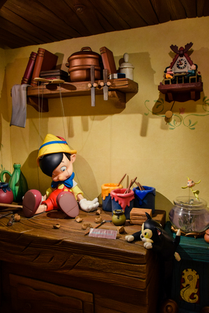 Geppetto`s house with Pinocchio on the table setup in Disneystore located at Shibuya, Tokyo