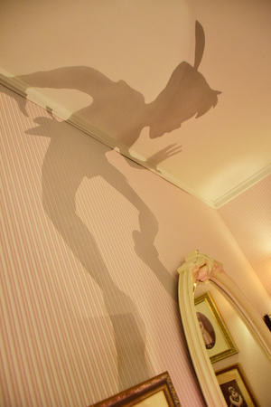 Wendy`s room with Peter Pan`s shadow on the wall setup in Disneystore located at Shibuya, Tokyo