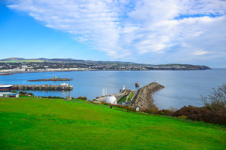 Beautiful landscape view of seaside town of Douglas in the Isle of Man, the capital and largest town of the Isle of Man