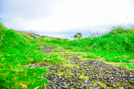 A typical walk path up on the hill nearby seashore in the Isle of Man Reklamní fotografie